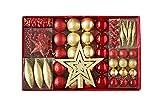 HEITMANN DECO Weihnachtsbaum-Schmuck - 60-teilig - Set inkl. Baumspitze, Kugeln, Perlkette, Girlande und Sterne - Kunststoff