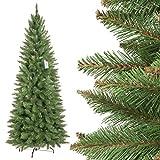 FairyTrees Weihnachtsbaum künstlich Slim, Fichte Natur, grüner Stamm, Material PVC, inkl. Metallständer, 180cm