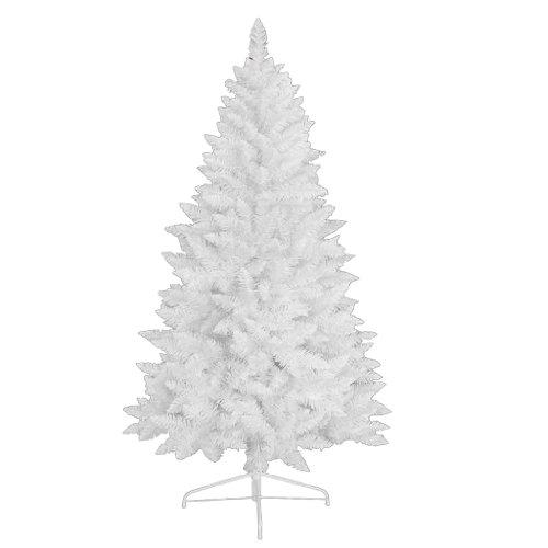 RS Trade 1015 Weihnachtsbaum künstlich Weiß 210 cm (Ø ca. 100 cm) mit 874 Spitzen, schwer entflammbarer Tannenbaum mit Schnellaufbau Klappsystem, inkl. Christbaum Ständer aus Metall