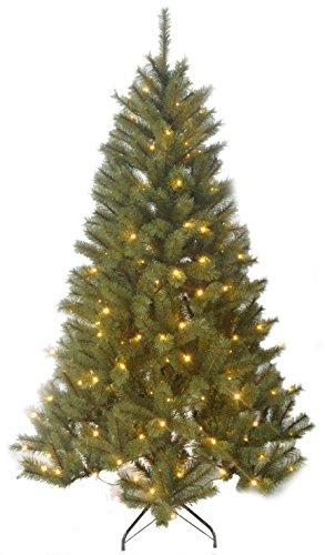 Black Box Trees 1002218-02 Künstlicher Weihnachtsbaum Delmonto Beleuchtet, Höhe 215 cm, Durchmesser 132 cm, 240 LED's, 1043 Zweige, PVC Hart- und Weichnadel, Spitzen geeist