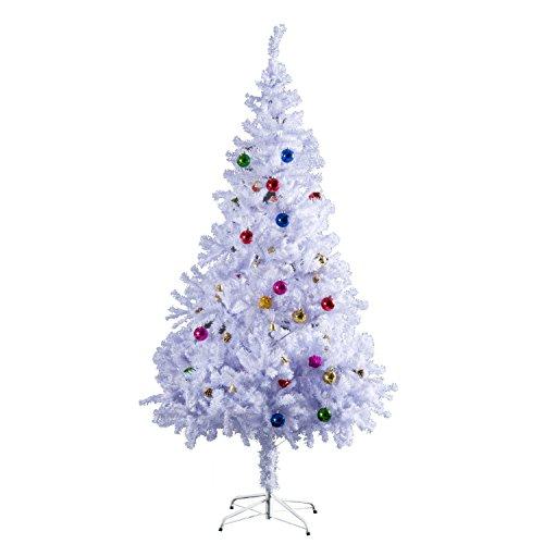 HOMCOM Weihnachtsbaum 1,5 m künstlicher Christbaum Tannenbaum Baum mit Ständer inkl. Dekor (150cm, weiß/Weihnachtsbaum)