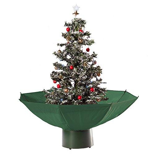 Hiskøl künstlicher selbstschneiender Weihnachtsbaum Christbaum Tannenbaum mit Schneefall in 75cm Höhe mit grünem Schirm