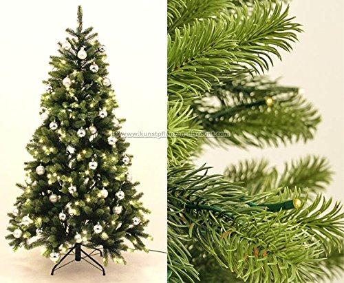 PE Weihnachtsbaum mit LED Beleuchtung und silberne Kugeln 210cm, 1156 Tips mit Spritzguss Nadeln B1 - künstlicher Weichnachtsbaum künstliche Weihnachtsbäume Deko Weihnachts Bäume Tannenbäume Nordmann Tannen Christbäume, geschmückte Weihnachtsbäume  -- großes Weichnachtsbaum, Tannengirlanden Weihnachts Deko Sortiment