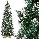 FairyTrees Weihnachtsbaum künstlich Kiefer, Natur-Weiss beschneit, Material PVC, echte Tannenzapfen, inkl. Holzständer, 180cm